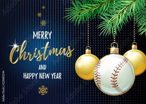 merry christmas and happy new year sports greeting card baseball ball as a christmas