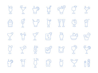 Set Vector Line Icons of Cocktails.