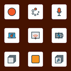 Music icons colored line set with albums, charging, categories and other circle  elements. Isolated vector illustration music icons.