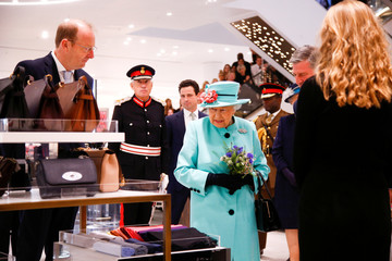 Britain's Queen Elizabeth looks around the Fenwick department store at The Lexicon shopping centre during a visit to Bracknell