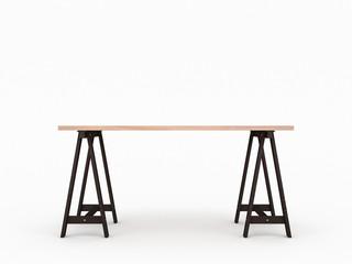 Wooden oak table desk mockup isolated on light gray studio