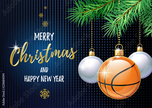 Merry Christmas and Happy New Year. Sports greeting card. Basketball ball as a Christmas