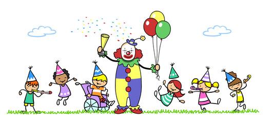 Clown auf Kindergeburtstag mit Kind im Rollstuhl