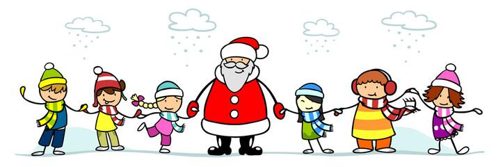 Weihnachtsmann und Kinder zu Weihnachten