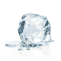 Melting ice cube on white background including clipping path