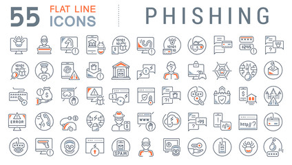 Set Vector Line Icons of Phishing.