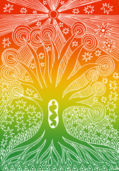 The tree of life. Graphic art graceful drawing. Manual graphics. White drawing on red, yellow, green background.