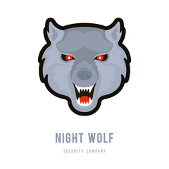 Vector Illustration of Night Wolf.