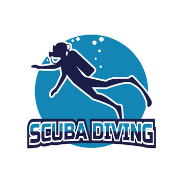 scuba diving logo for your business or sport school, vector illustration