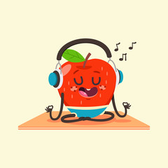 Cute Apple kid in yoga pose. Funny vector cartoon fruit in headphones character isolated on a background. Eating healthy and fitness.