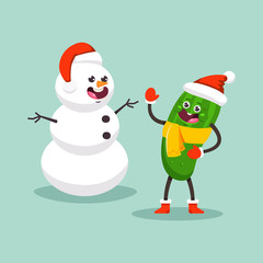 Snowman and Cucumber kid in Santa hat and scarf. Cute cartoon vegetable character. Winter Christmas holiday activities vector illuctration isolated on background.
