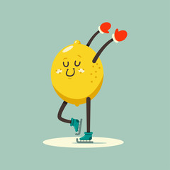 Cute Lemon kid cartoon character skating on ice rink. Winter sports and activities. Vector flat funny fruit illustration isolated on background.