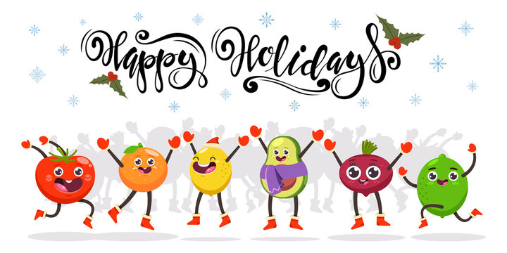 Cute jumping fruits and vegetables kids. Happy holidays hand drawn text. Vector cartoon funny food character. Christmas illustration isolated on a white background.