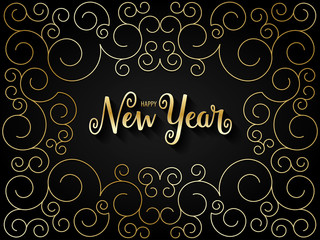 HAPPY NEW YEAR card with gold spiral pattern