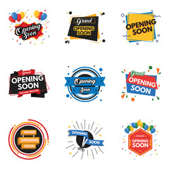 Set of opening soon banners isolated on white background
