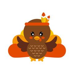 cartoon cute turkey vector image