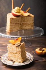 slice of homemade honey cake