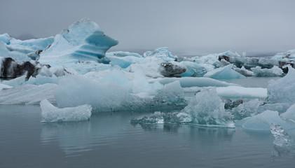 Iceland, Jokulsarlon lagoon, Beautiful cold landscape picture of icelandic glacier lagoon bay