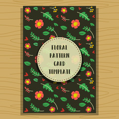 vector hand drawn dark green floral card template with flower pattern