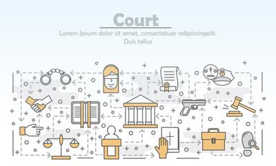 Vector thin line art court poster banner template