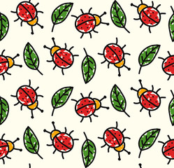 Ladybug and leaf childish colorful seamless vector pattern