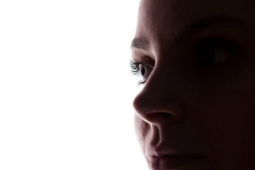Young woman look ahead - horizontal silhouette