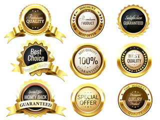 Realistic golden labels. Elegant best price banner, label with g