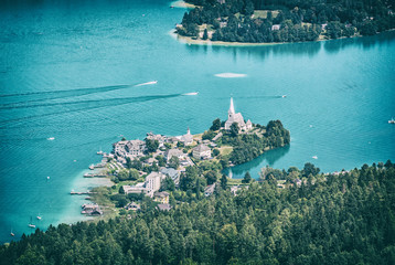 Wörth town and Wörthersee, Austria, analog filter