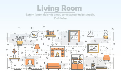 Vector thin line art living room poster banner template