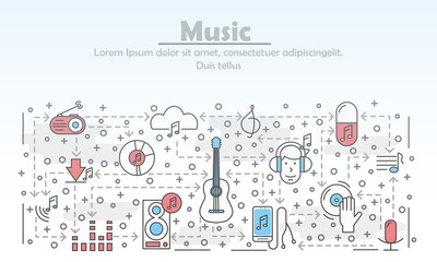Vector thin line art music poster banner template