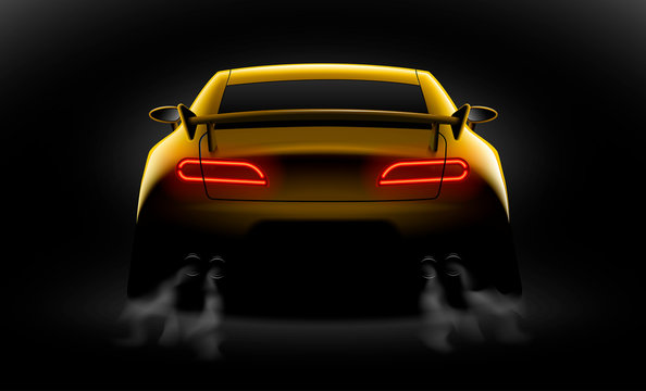 realistic yellow sport car back view with unlocked rear lights in the dark