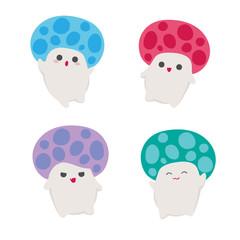 Kawaii mushrooms characters collection