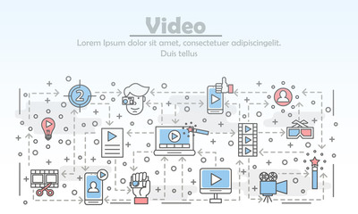 Vector thin line art video poster banner template