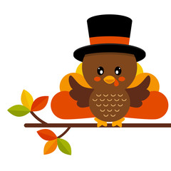 cartoon cute turkey in hat vector on a branch