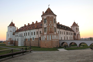 Ancient architecture of Belarus in autumn time