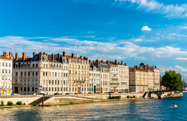 Riverside of the Saone in Lyon, France