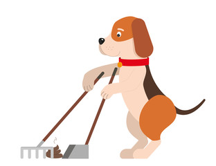 A funny dog cleaning up his new creation.Vector illustration.