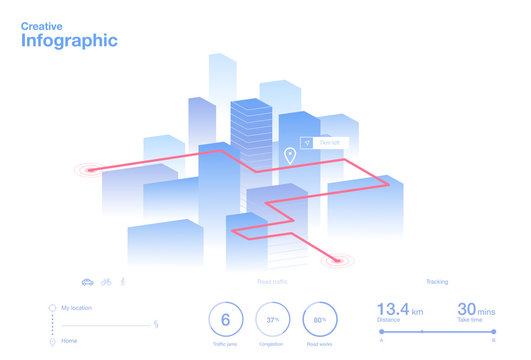 Creative ui ux design of navigate app infographic. Vector illustration.