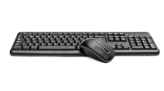 Computer mouse with keyboard on white.