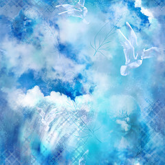 seamless pattern with seagulls and textures on blue sky