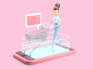 3d illustration. use of money on the Internet. internet shopping
