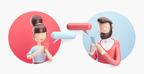3d illustration. Online chat between a guy and a girl