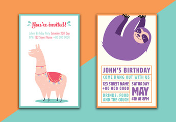 Birthday Party Flyer Layouts with Animal Illustrations