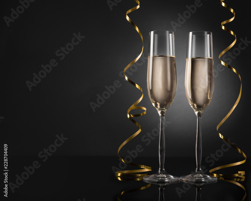 new year background with champagne flutes