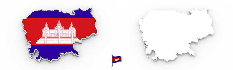 3D map of Cambodia white silhouette and flag