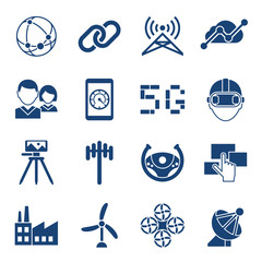 Digital vector mobile technology simple icons