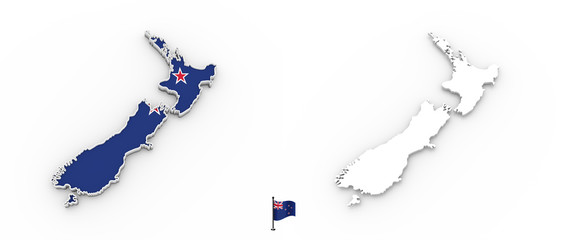 3D map of New Zealand white silhouette and flag