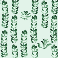 seamless hand painted watercolor plants pattern