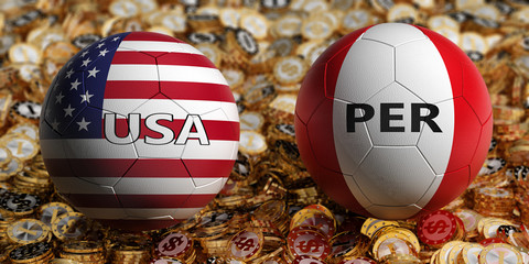 Peru vs. USA Soccer Match - Soccer balls in Peru and USA national colors on a bed of golden dollar coins. 3D Rendering