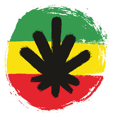 Rasta Man Circle Flag Vector Hand Painted with Rounded Brush